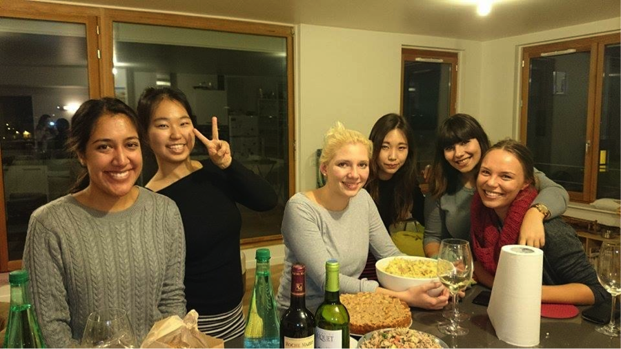 MBA student Andrea Ruiz with other exchange students in Bordeaux, France