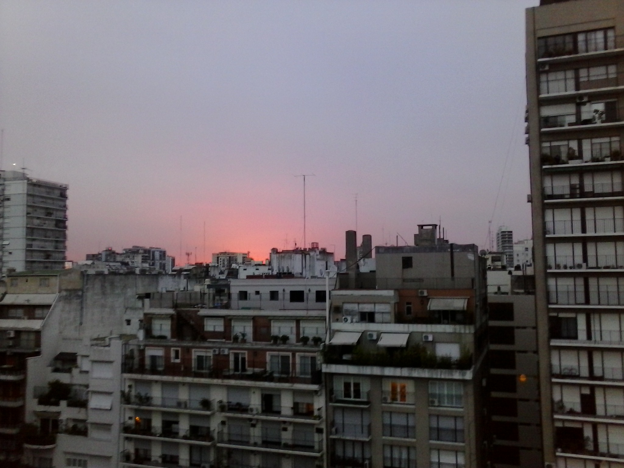 View of Buenos Aires at sunset from the hotel.