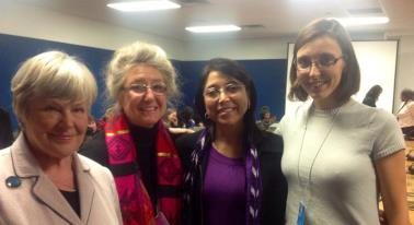 Mendez wearing a scarf similar to those of the Sepur Zarco women, at the 2013 UN Commission on the Status of Women