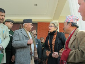 IPJ Director Dee Aker speaks with Prime Minister K.P. Oli