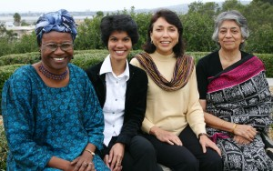Mendez with her fellow Women PeaceMakers from 2004, Christiana Thorpe, Shreen Saroor and Zarina Salamat