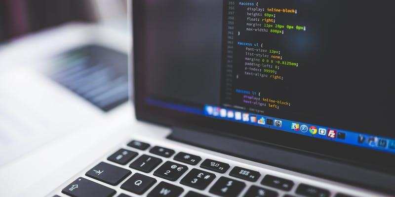 laptop computer screen showing code