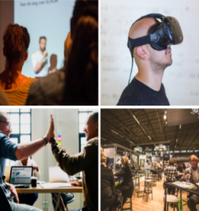 A grid of images where attendees are at a conference, a person has a virtual reality headset on, two professional students are high fiving each other and professional students are at various tables and chairs working on projects