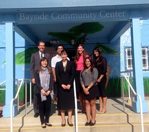 (Front row left to right) Legal Intern Diana Markosian, Supervising Attorney Peggy Kane, and Legal Intern Sarah Felahy  (Back row left to right) Law Clerk Alex Miller, Legal Interns Omeed Latifi, Alanna Rutan, and Jennielyn Alcarion
