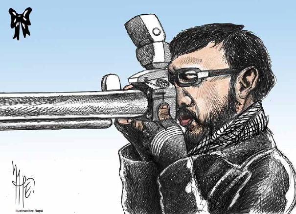 Cartoon by Rapé for emeequis. Rapé fled Xalapa in 2011 after several journalists were killed.