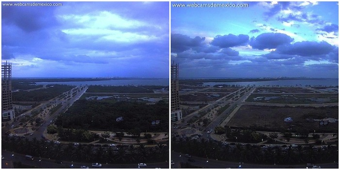 The Tajamar area before and after the destruction of the mangroves. Photos from Facebook and Twitter.