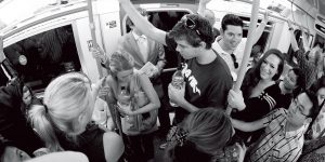 USD students ride the Tube in London during a summer study abroad trip.