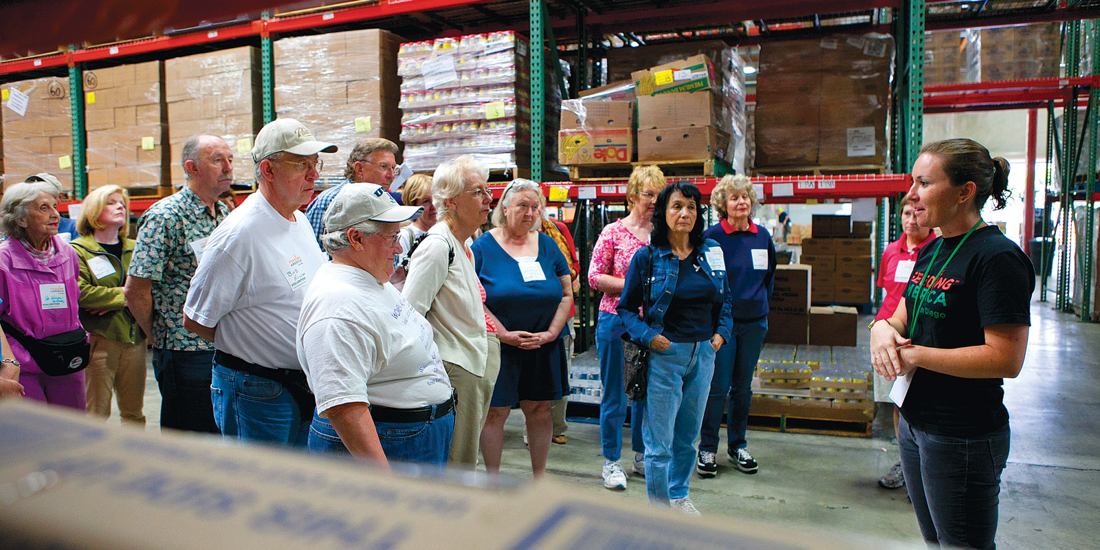 Volunteers from the University of the Third Age join USD alums at the Feeding America San Diego Food Bank