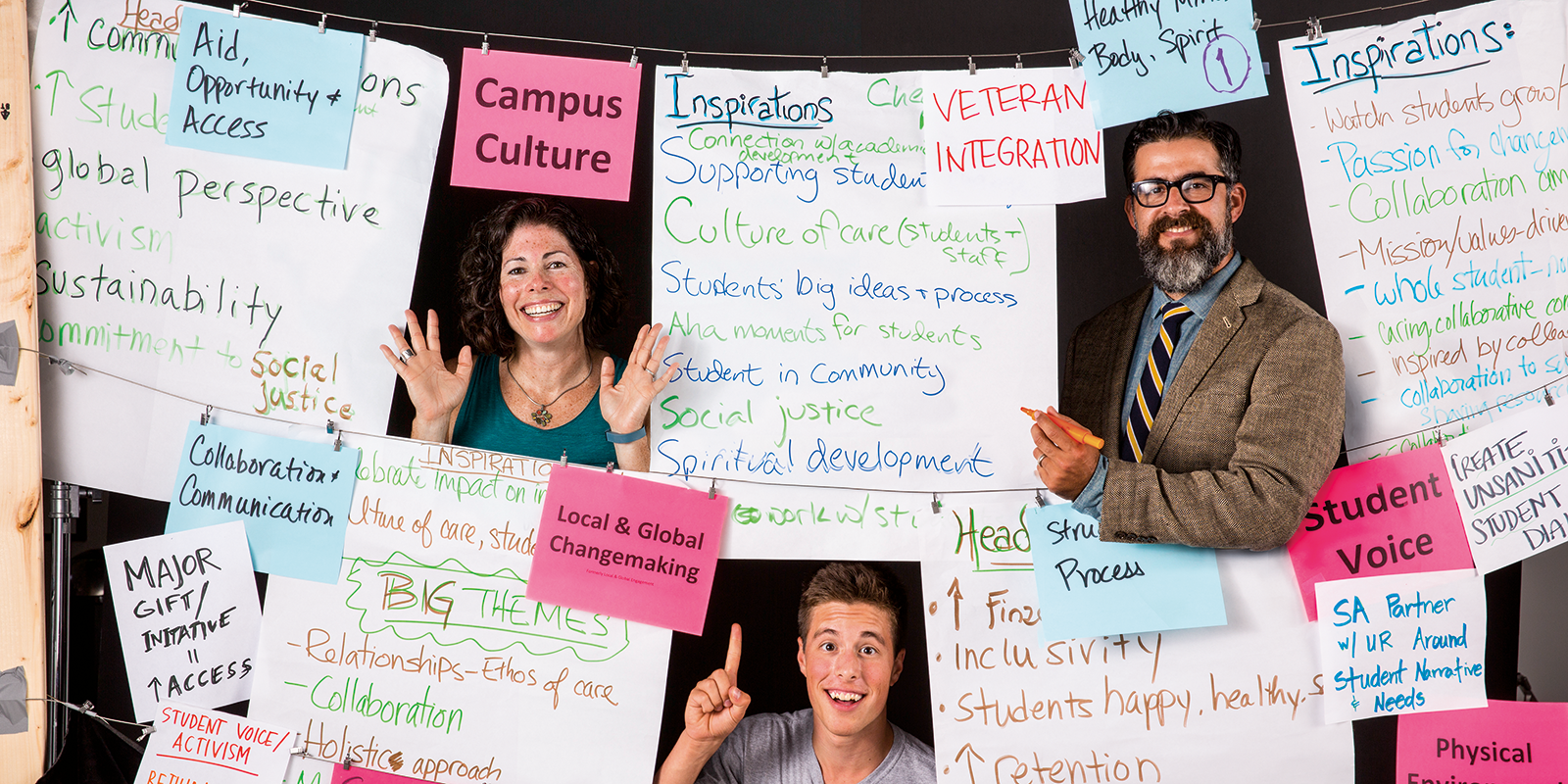 Associate Dean of Students Margaret Leary (above left), Associate Provost for Inclusion and Diversity Esteban del Rio (above right) and sophomore Crash Ketchum (above center).