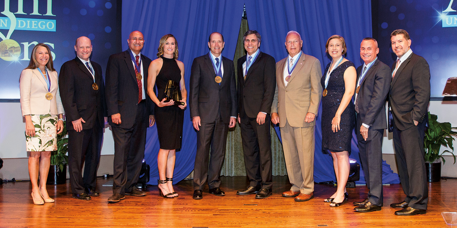 2016 USD Alumni Honorees: Janice Deaton '10 (MA); Andrew Putnam '03 (BS/BA), '03 (BA); Sam K. Attisha '89 (BBA); Leigh Ann (Robinson) Brown '08 (BA); the Honorable Dave Camp '78 (JD); Vincent J. Kasperick '84 (BBA); Maj. Gen. William M. Matz Jr. (Ret.) '73 (MA); Diana Combs Neebe '08 (MEd); Pablo Velez '06 (PhD); Miguel D. Vasquez '94 (BBA).