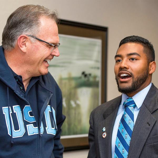USD President James Harris and Will Tate, who served as President for a Day
