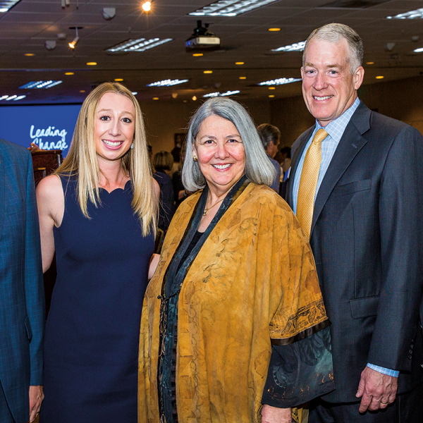 USD President James T. Harris III alongside Student Campaign Committee Chair Erin Smith '17, Honorary Campaign Chair Darlene V. Shiley, Campaign Chair James D. Power IV '85 and Board of Trustees Chair Ron Fowler