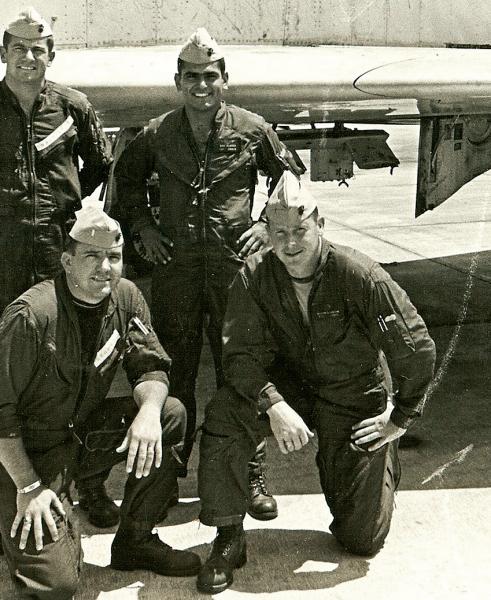 USD alumnus Benjamin Flores standing with fellow WWII soldiers