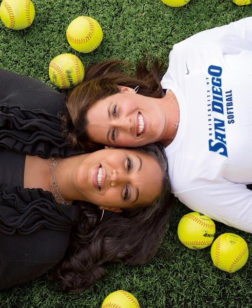USD Softball Coach Melissa McElvain and best friend Dana Findley
