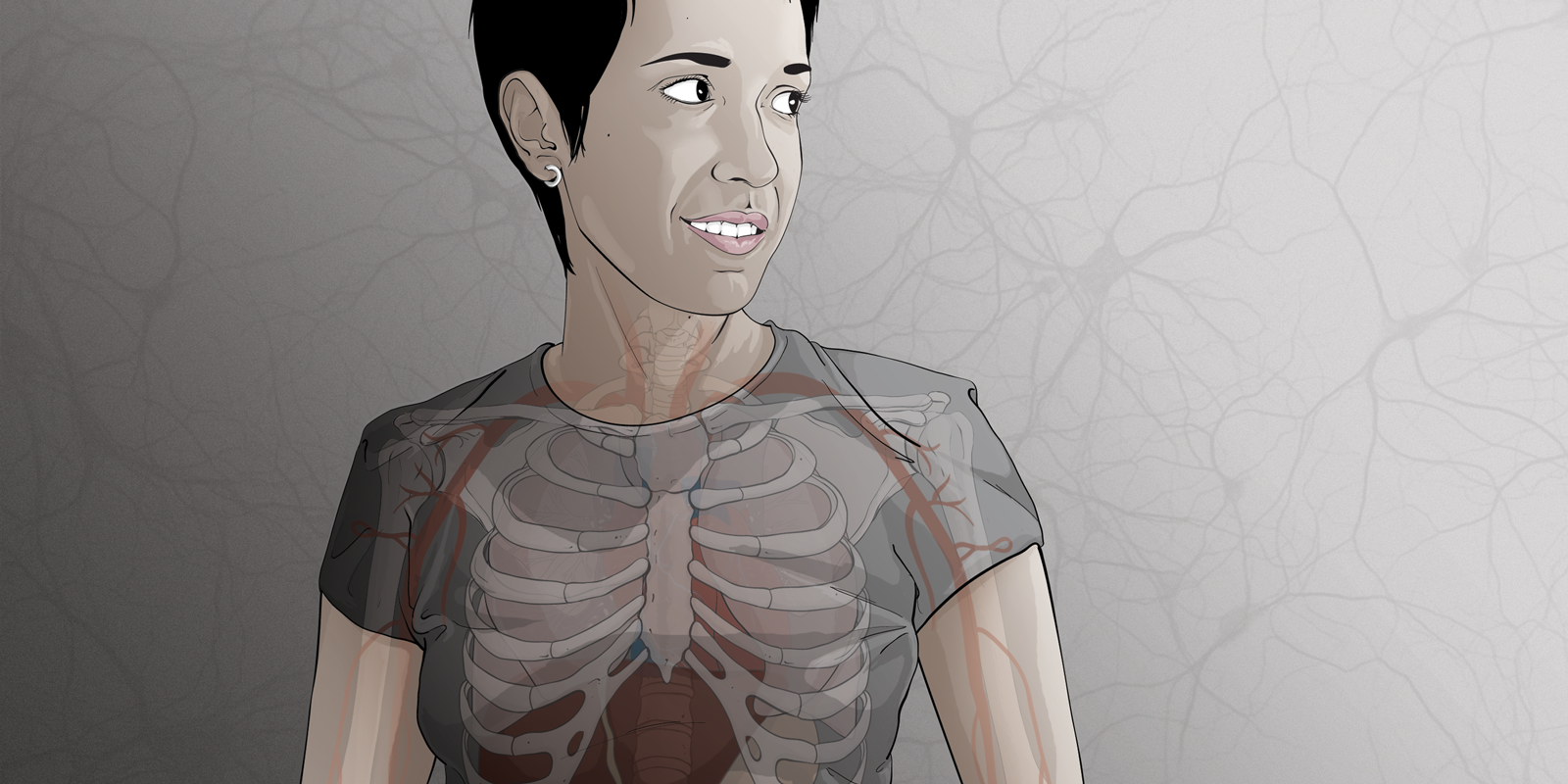 Medical illustration/self-portrait of USD alumna Vanessa Ruiz