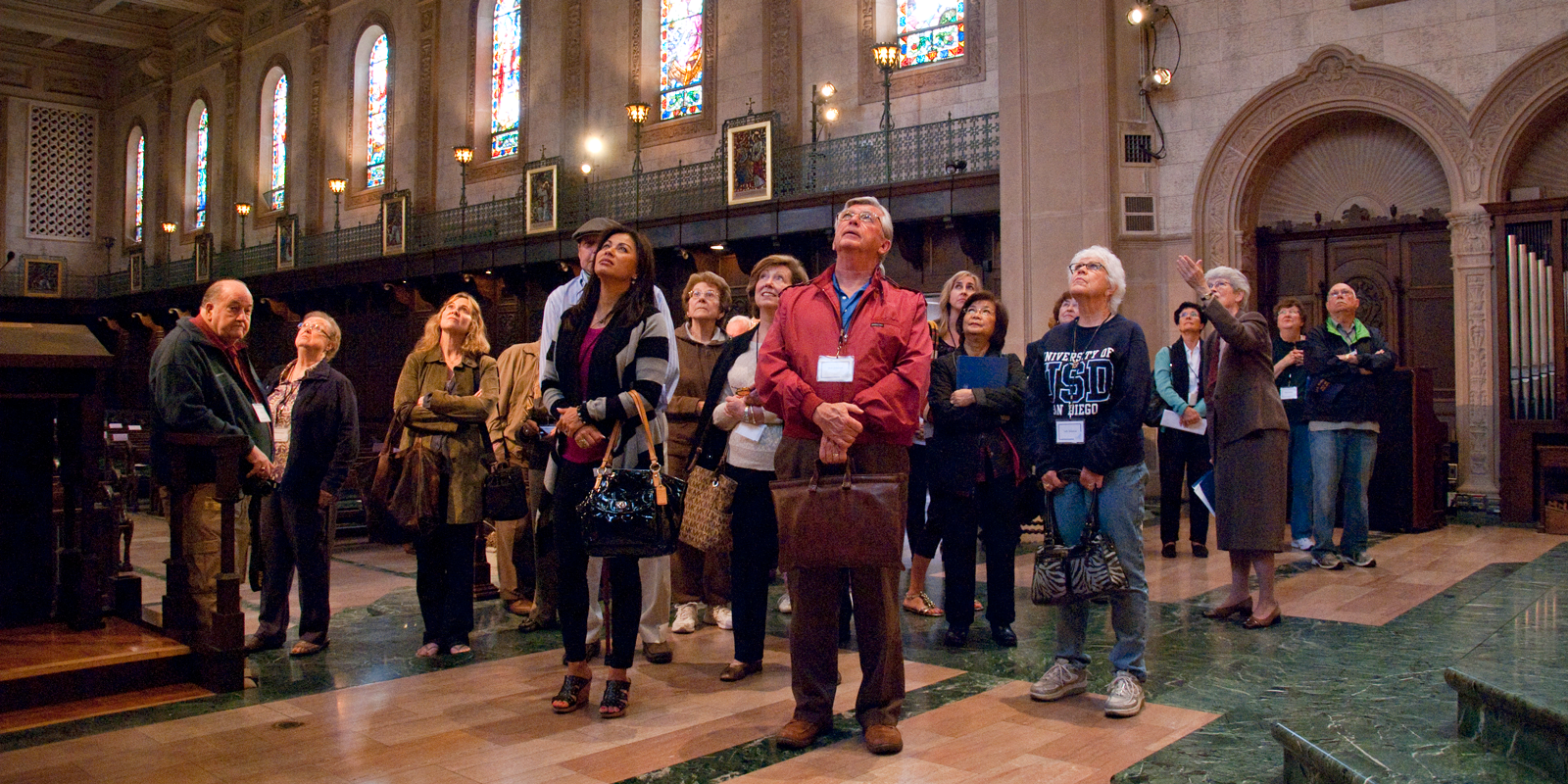Participants of a tour of Founders Chapel