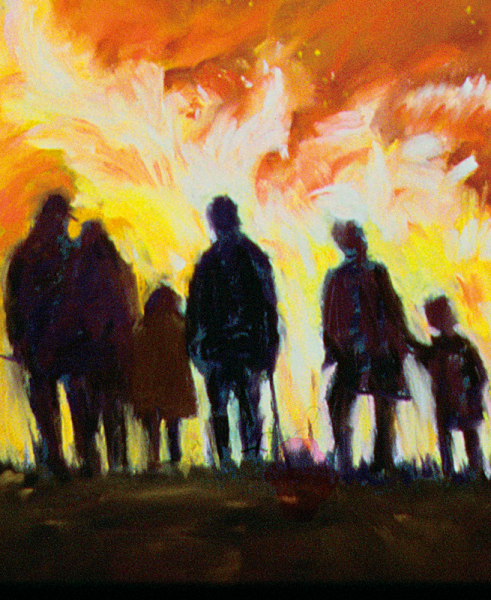 Illustration of people standing backlit by fire.