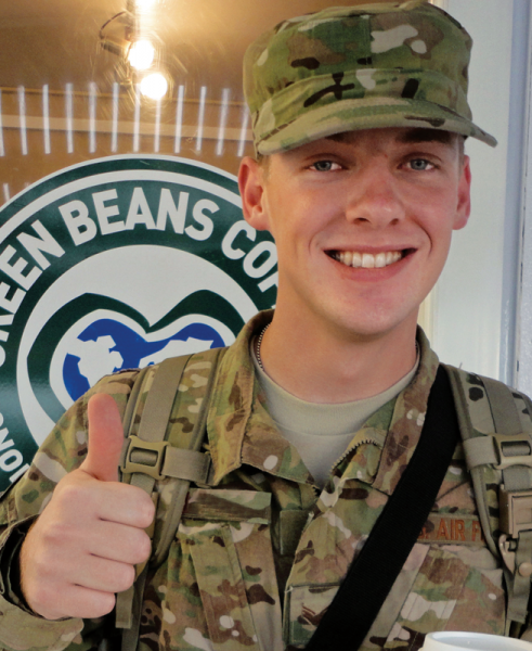 Soldier enjoying Green Beans coffee