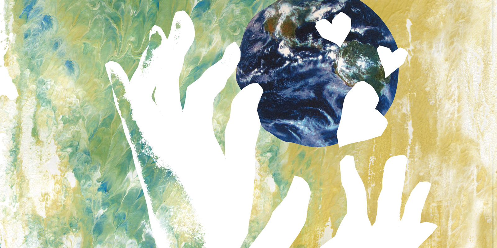 illustration of hands touching the globe