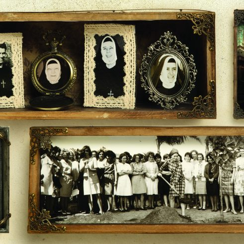 Collage of archival photos of Religious of the Sacred Heart