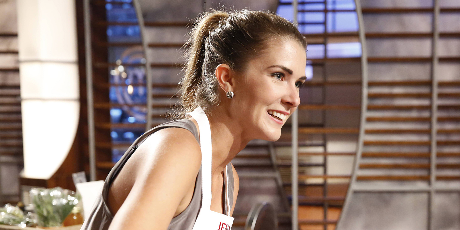 Jenny Cavellier on the set of Masterchef's 7th season