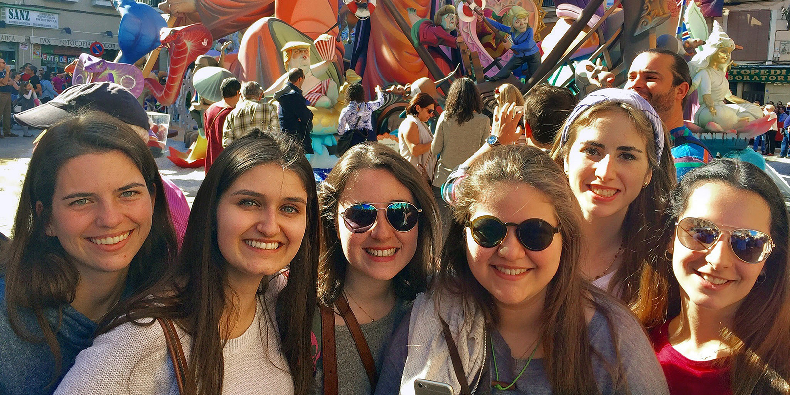 During a stint studying abroad at USD's Madrid Center, students enjoyed the Las Fallas de Valencia festival. At far left is Tess Robeson '18 and Melinda Sevilla '18, accompanied by four Spanish students from Comillas, Spain.