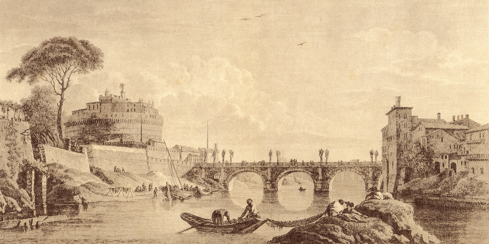Antique view of Rome, Italy, with the Vatican and the San Angelo castle. Engraving by Giovanni Barberi, published in the book Veduti di Roma (1809).