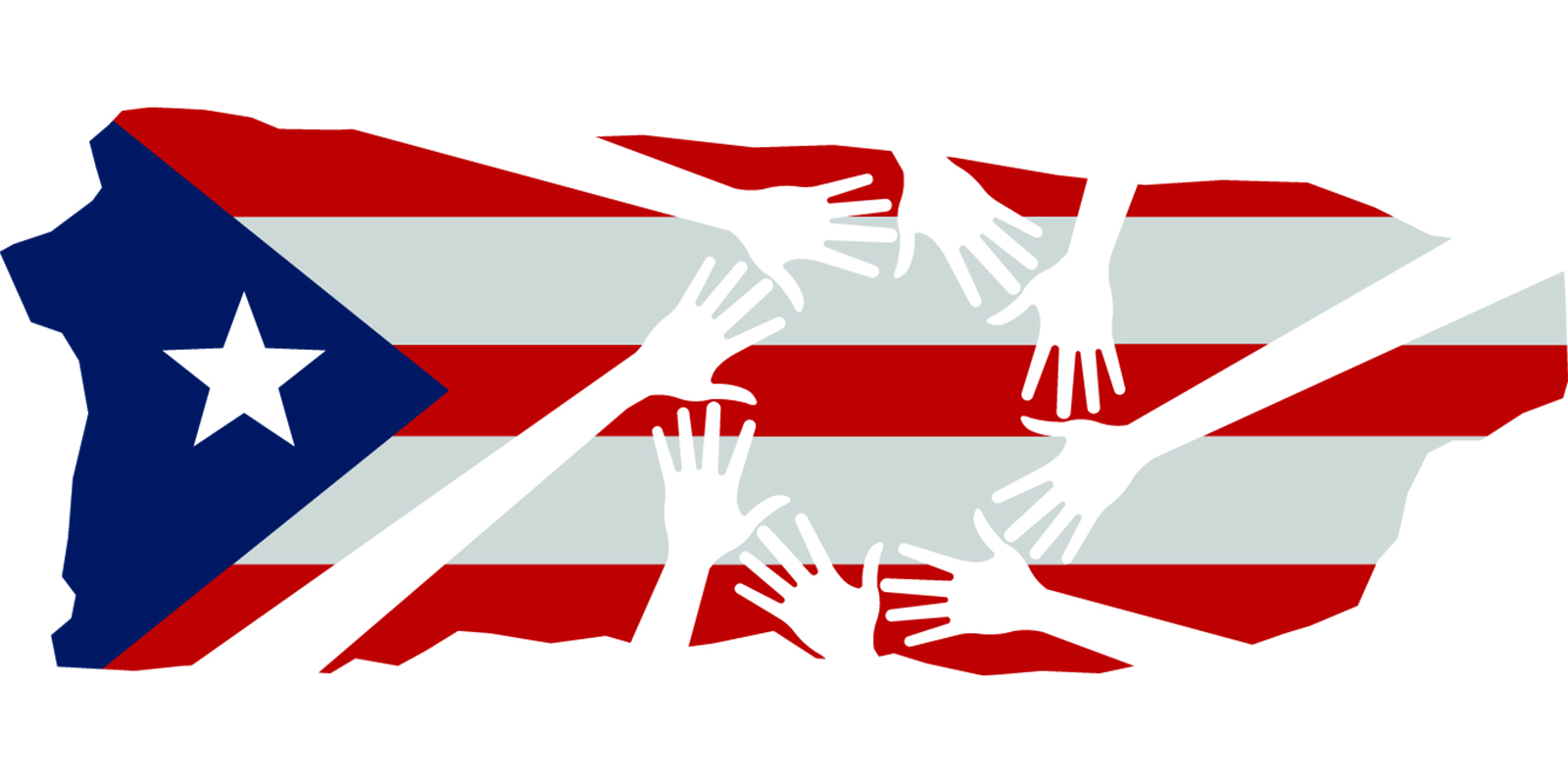 Helping hands over Puerto Rico flag