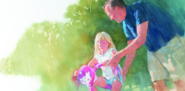 Illustration of father teaching young girl to ride a bike.