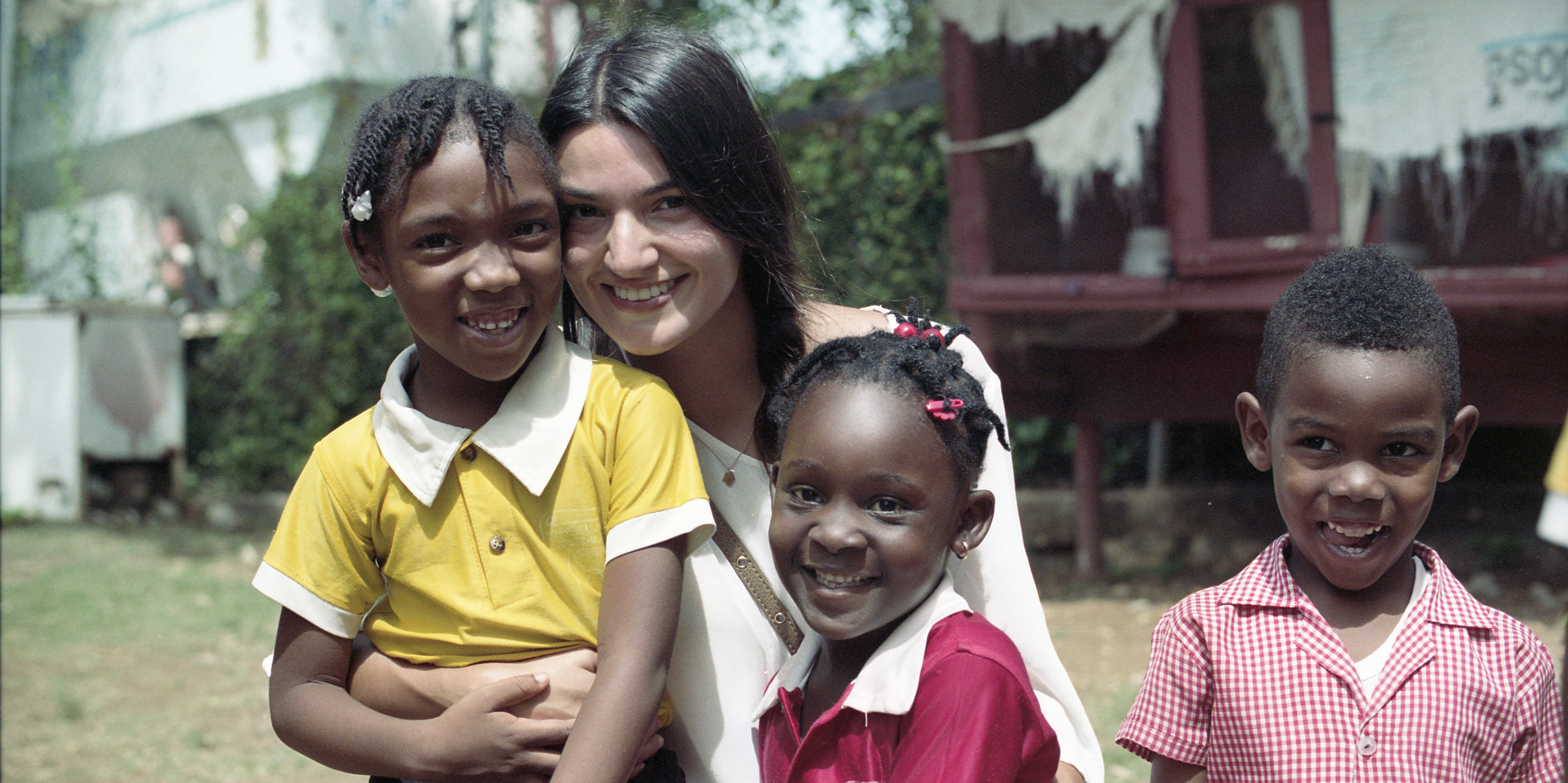 USD alumna Maria Silva '12 on an immersion trip to Jamaica.