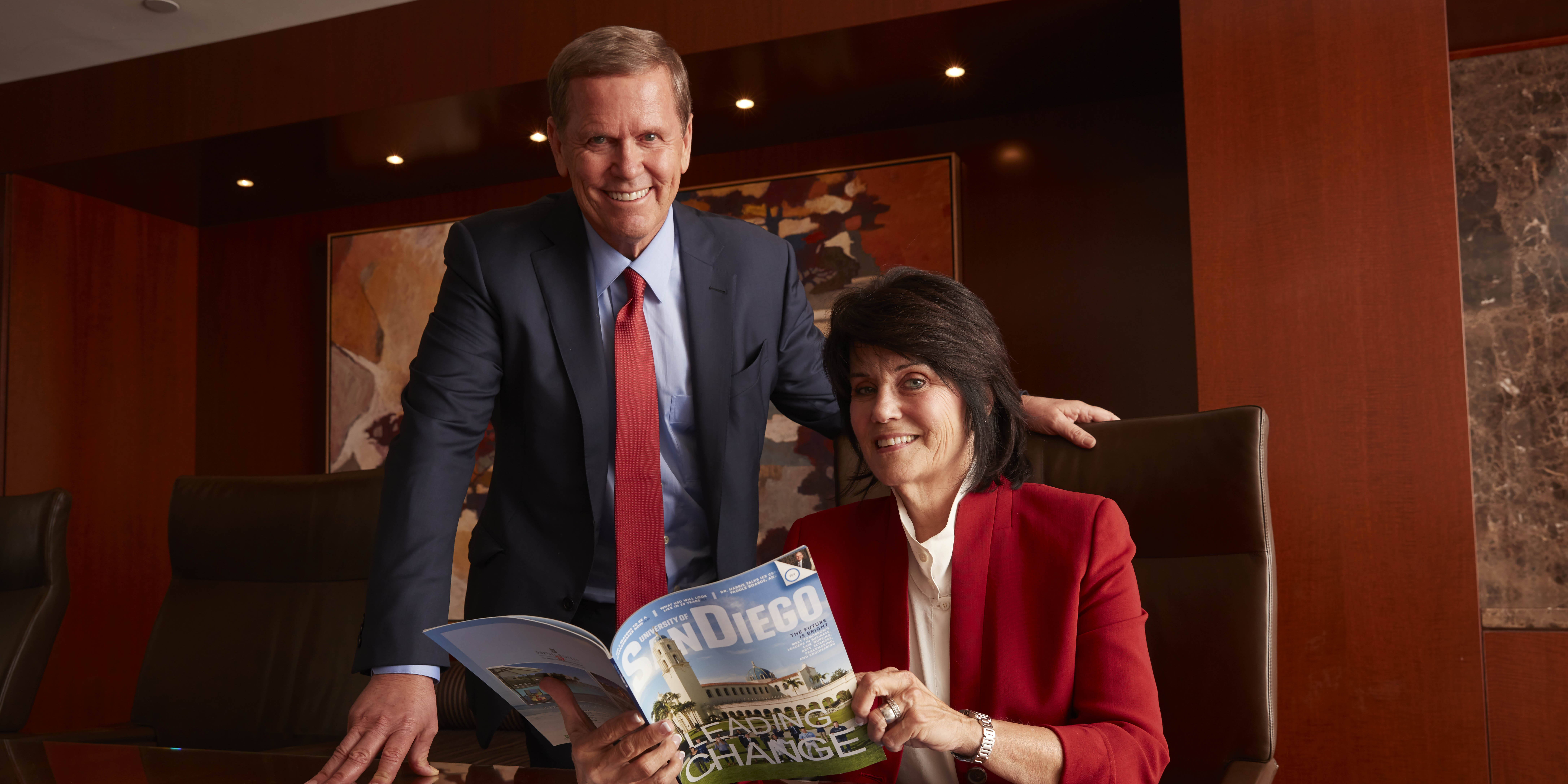 USD School of Law alums David Casey '74 (JD) and Virginia Nelson '79 (JD)