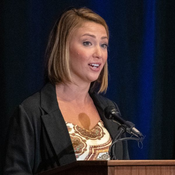 Student addresses donors at USD's scholarship luncheon