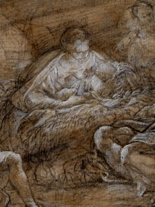 Carlo Maratti, Adoration of the Shepherds, c. 1640-1713, black chalk with brown wash and heightened with white, ©The Trustees of the British Museum