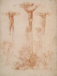 Michelangelo, The Three Crosses, c. 1520, red chalk and wash, ©The Trustees of the British Museum