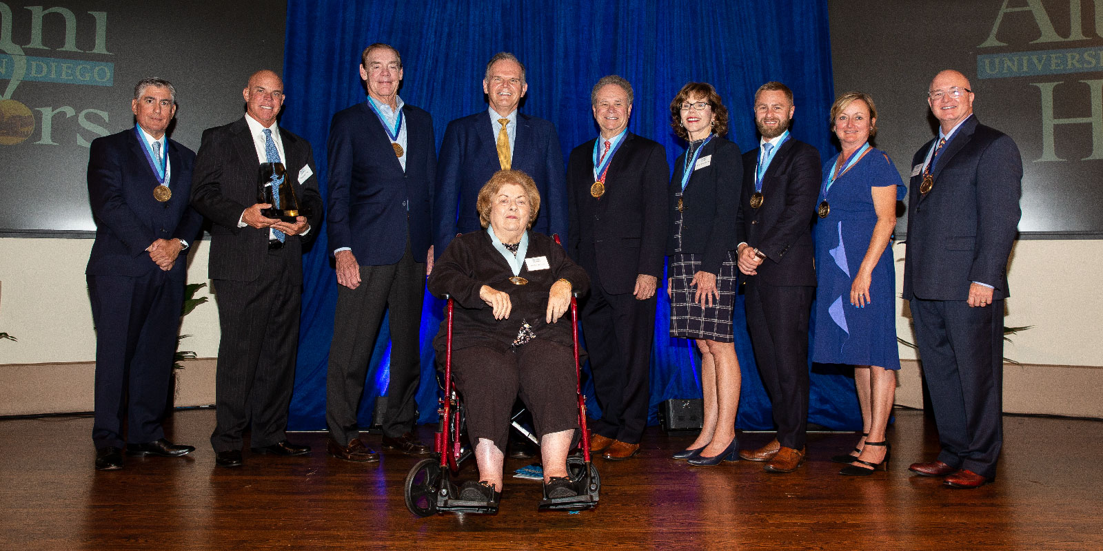 2019 recipients of USD's Alumni Honors awards on stage