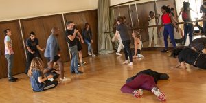 USD students in a masterclass taught by famed theatre professor Christopher Bayes.