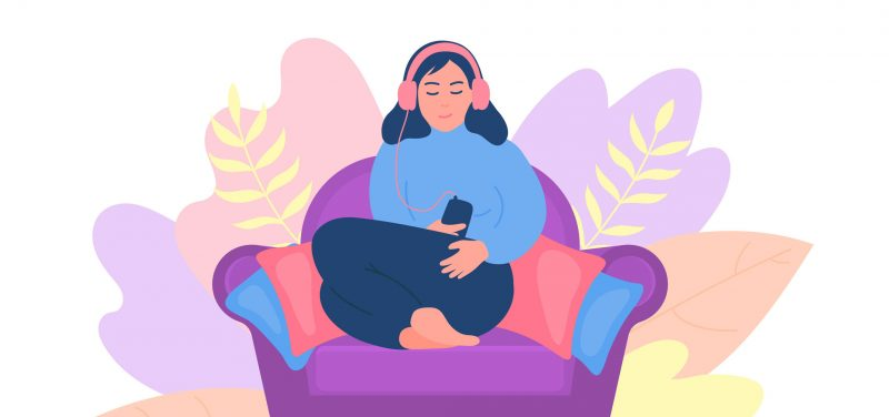 Illustration of woman in chair listening to headphones