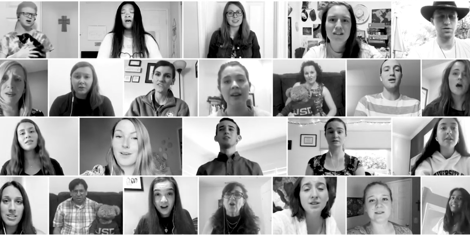 Dozens of members of USD's choir sing together via Zoom
