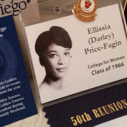 Name badge from USD alumna Ellissia Price-Fagin's 50th reunion