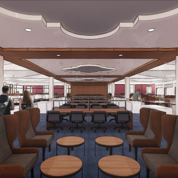 Artist rendering of renovated USD Copley Library