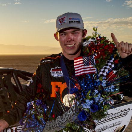 University of San Diego engineering student Elliot Watson celebrates a race car win