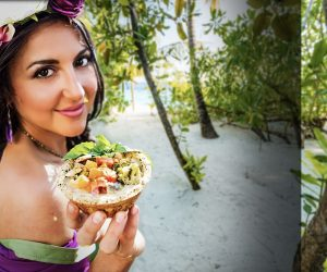 Jessica Tishue holding a sustainable bowl of food
