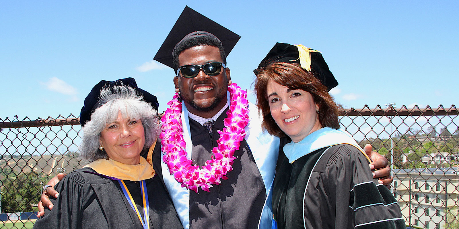 USD's Carmen Vazquez, vice president of student affairs,pictured at left, alongside Williams and Assistant Vice President of Student Life Cynthia Avery