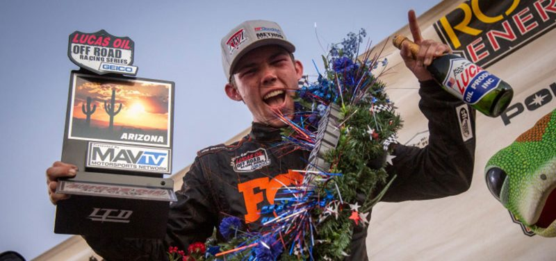 An exuberant Elliot Watson celebrates a racing win
