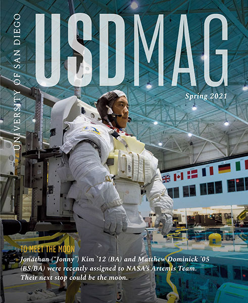 Cover of Spring 2021 USD Magazine featuring alumnus and astronaut Jonny Kim
