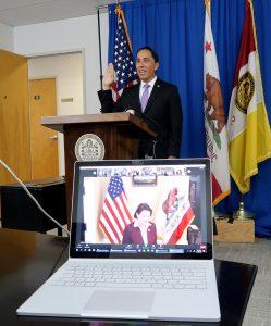 San Diego Mayor Todd Gloria being sworn into office in December of 2020.