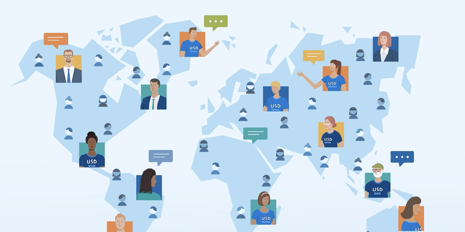 Graphic showing icons of people across the globe being connected