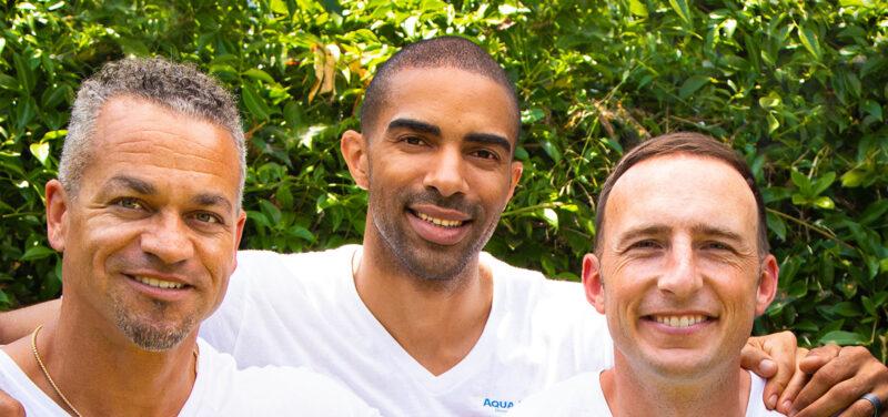 Aqua Equity co-founders Ryan Morgan '08 (BBA), Brandon Espy '10 (BA) and J.T. Rogan '08 (BBA).