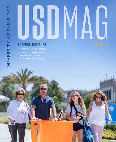 Cover of Fall 2021 issue of USD Magazine shows family helping student move into campus