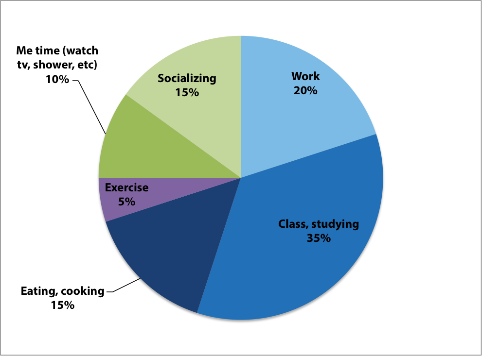 "Sample ""ideal"" chart of a student's time management"
